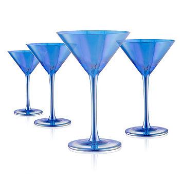Набор из 4 8 унций. Бокалы для мартини с блеском синего цвета Artland