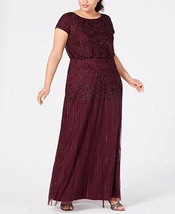 Платье-блузон больших размеров с рисунком из бисера Adrianna Papell