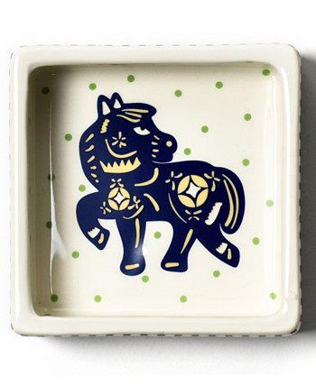 автор: Лаура Джонсон Китайский знак зодиака Лошадь Квадратная миска для безделушек Coton Colors