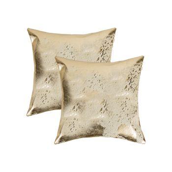 Набор подушек из квадратной металлической воловьей кожи, 2 шт. Natural