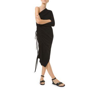 Шелковое миди-платье на одно плечо со сборками MICHAEL KORS COLLECTION
