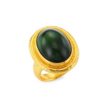 Золото 24K & amp; Кольцо с зеленым тумалином Gurhan