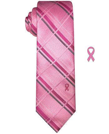 Men's Classic Plaid Tie with Lapel Pin Susan G Komen
