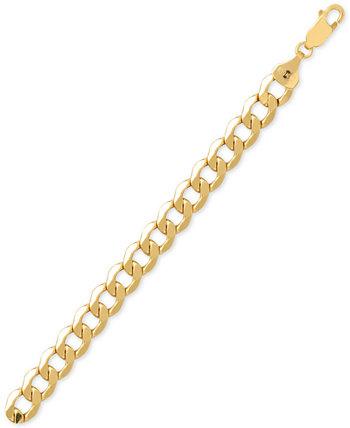 Мужской браслет-цепочка со скошенными звеньями из золота 10 карат Italian Gold