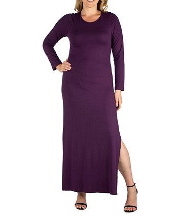 Женское макси-платье больших размеров с разрезом по бокам 24seven Comfort Apparel