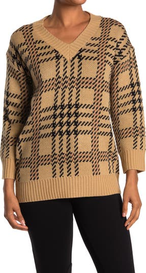 Вязаный пуловер с V-образным вырезом и длинными рукавами с принтом T Tahari