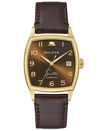 Мужские наручные часы Frank Sinatra с автоматическим коричневым кожаным ремешком, 33,5x45 мм Bulova