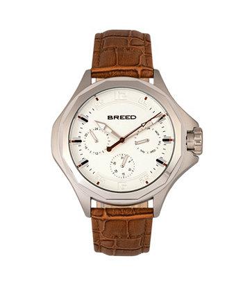 Часы из натуральной кожи Quartz Tempe светло-коричневого и серебристого цвета 43 мм Breed