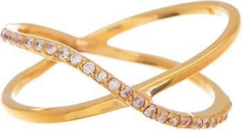 Кольцо с покрытием из 18-каратного золота внахлест с паве Paige Novick