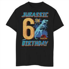 Футболка с рисунком T Rex для мальчиков 8-20 Jurassic Park 6th Birthday Jurassic Park