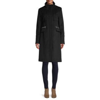 Пальто из смесовой шерсти с воротником-стойкой Karl Lagerfeld Paris