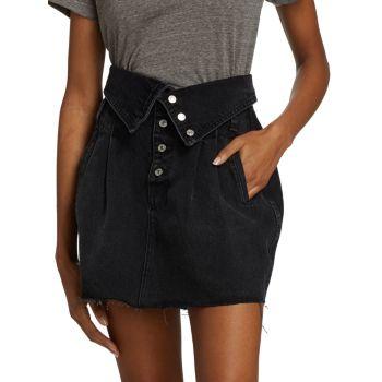 Джинсовая юбка в стиле 80-х с откидной талией Re/Done