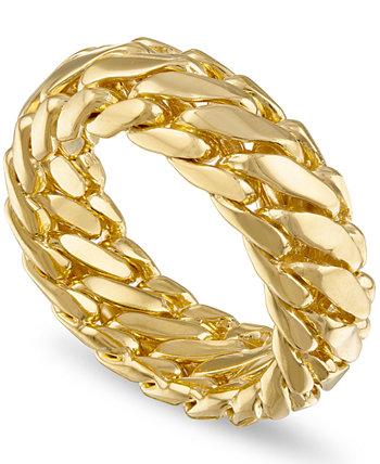 Плетеное кольцо со звеньями для бордюров из позолоченного серебра 18 карат, созданное для Macy's (также доступно в стерлинговом серебре) Esquire Men's Jewelry