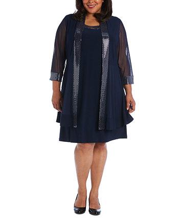 Украшенное платье больших размеров и куртка Illusion R & M Richards