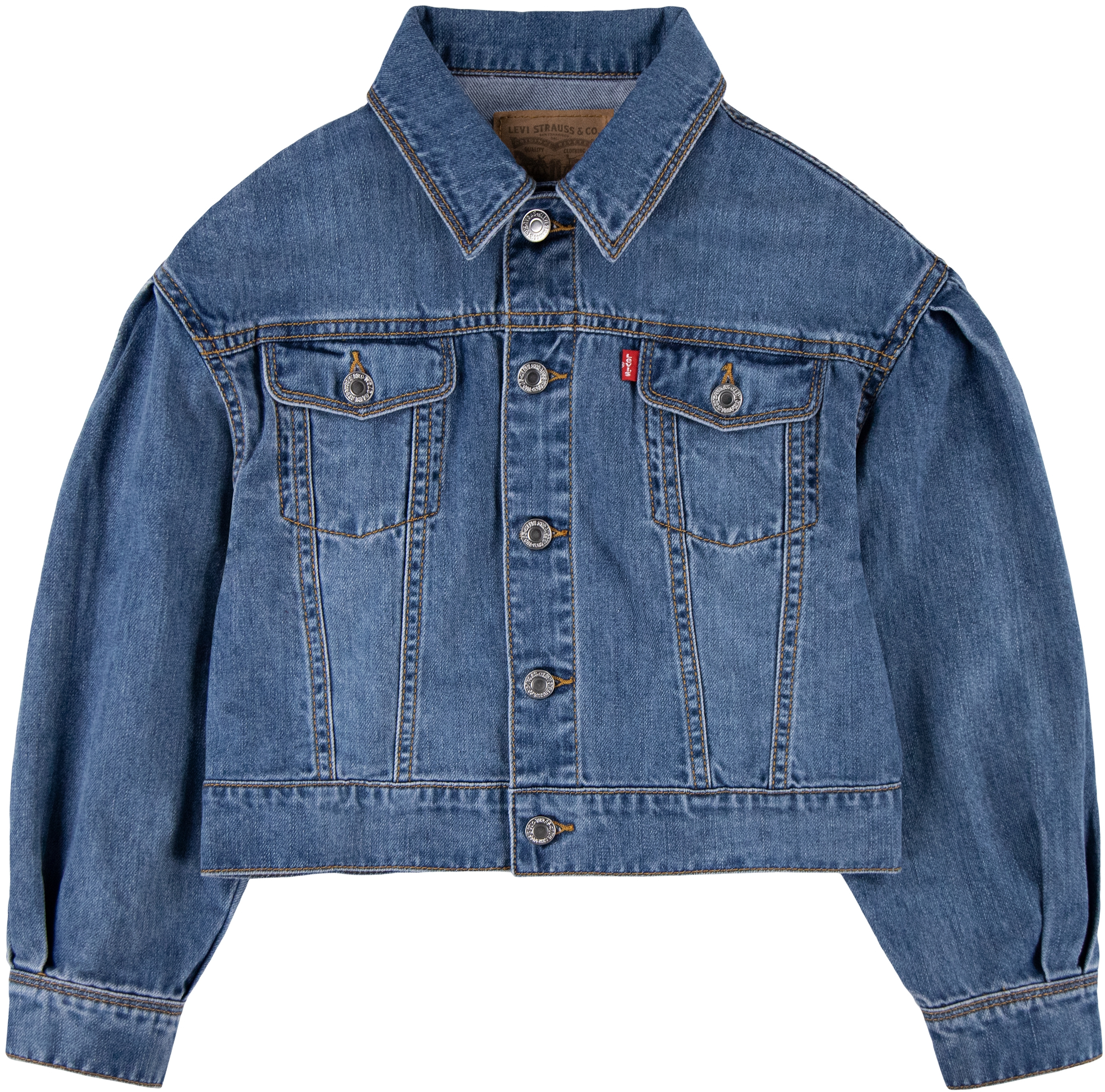 Pleated Sleeve Denim Trucker Jacket (Big Kids) Levi's® Kids