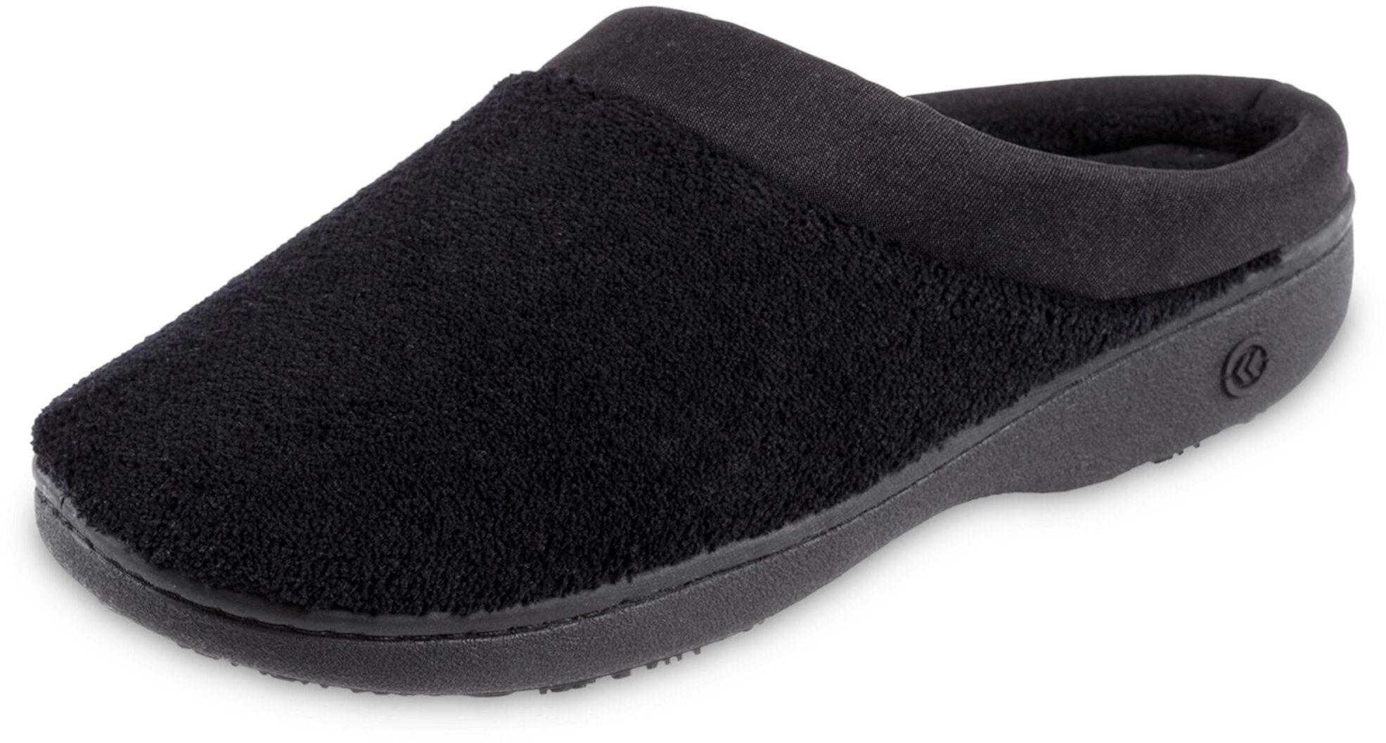 Terry and Satin Slip on Cushioned Slipper With Memory Foam for Indoor/Outdoor Comfort ISOTONER