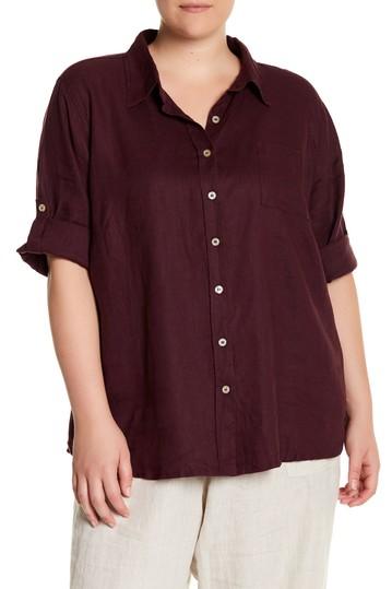 Льняная рубашка с рукавами 3/4 (Большой размер) Allen Allen