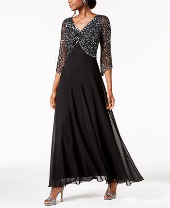 Украшенное платье с 3/4 рукавами J Kara