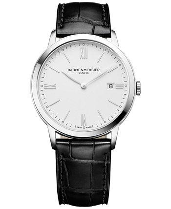 Мужские швейцарские часы Classima с черным кожаным ремешком 40мм M0A10323 Baume & Mercier