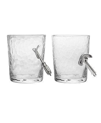 Handyman Screwdriver and Hammer Double Old Fashioned Set of 2 Glasses Godinger