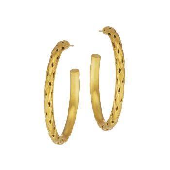 Серьги-кольца Bali Weave с покрытием из золота 22 карат DEAN DAVIDSON