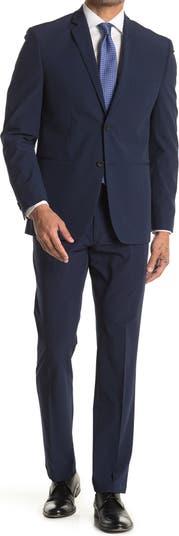 Однотонный синий приталенный костюм с двумя пуговицами и лацканами Perry Ellis