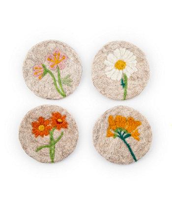 Светло-коричневые войлочные шерстяные подставки с цветочным орнаментом - набор из 4 шт. THIRSTYSTONE