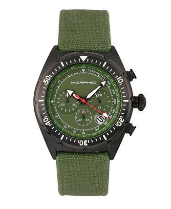 Серия M53, черный корпус, часы с даткой из искусственной кожи с хронографическим плетением, 45 мм Morphic