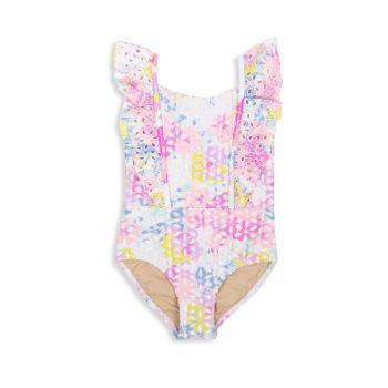Baby Girl's & amp; Разноцветный сплошной купальник для маленьких девочек с цветочными проушинами Shade critters
