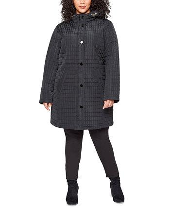 Стеганое пальто больших размеров с капюшоном Jones New York