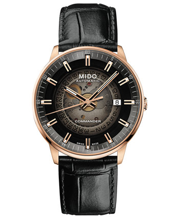 Мужские часы Swiss Automatic Commander с черным кожаным ремешком 40 мм с градиентом MIDO