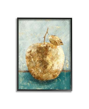 """Золотисто-зеленое яблоко-зеленое текстурированное изображение еды в рамке с текстурированным рисунком жикле, 24 """"x 30"""" Stupell Industries"""