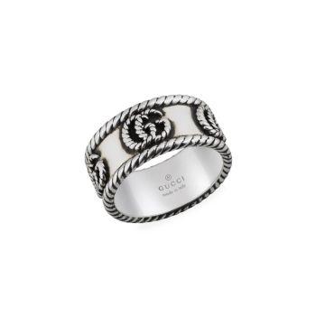 Кольцо из состаренного серебра с двойной буквой G GUCCI