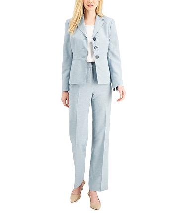 Меланжевый брючный костюм с застекленной пуговицей спереди Le Suit