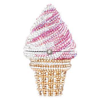 Рожок для мороженого с клубникой и кристаллами для пилюль Judith Leiber