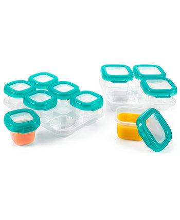 Tot Glass Baby Blocks 12 шт. Набор контейнеров для хранения продуктов в морозильной камере с лотками Oxo