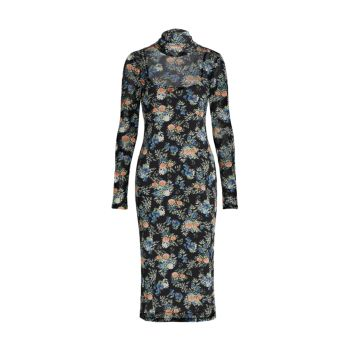 Платье миди в сетку с цветочным рисунком Santana WAYF