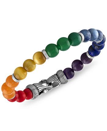 Браслет из бисера радуги с несколькими камнями из стерлингового серебра, созданный для Macy's Esquire Men's Jewelry
