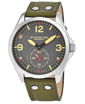 Оригинальные мужские кварцевые часы в серебряном корпусе с серым циферблатом на светло-коричневом ремешке из натуральной кожи с белой контрастной строчкой Stuhrling