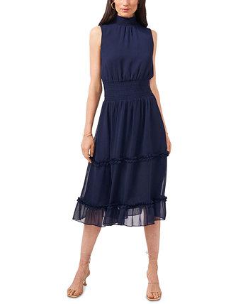 Smocked Mock-Neck Midi Dress 1.STATE