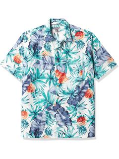 Big & Tall Air Tropical Short Sleeve Button-Down Poly Rayon Shirt Van Heusen
