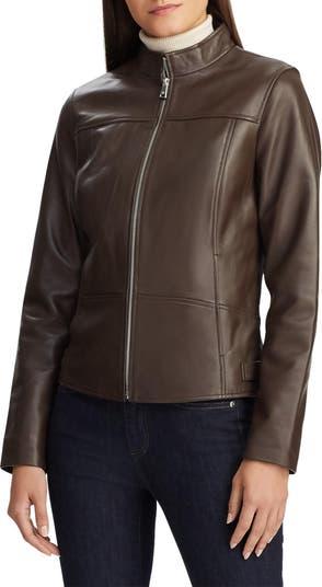 Band Collar Leather Jacket LAUREN Ralph Lauren