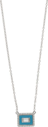 Ожерелье с подвеской из белого золота 18 карат, бирюзовой эмали и паве с бриллиантами - 0,16 карата Bony Levy
