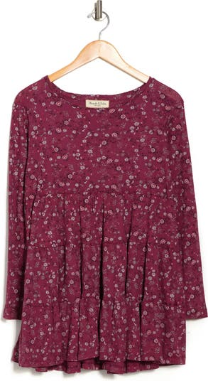 Floral Print Tiered Slub Knit Top THREADS AND STATES
