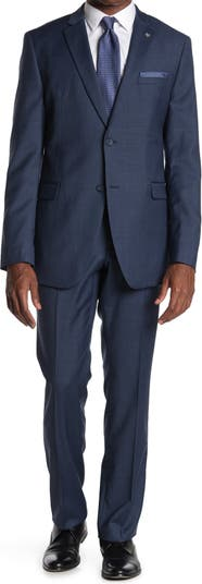 Синий - Однотонный приталенный костюм с двумя пуговицами и лацканами на лацканах Original Penguin