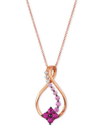 Слоеный клубничный торт Ожерелье с кулоном Ombrà © Swirl Flower, 18 дюймов (3/4 карата) из розового золота 14 карат Le Vian