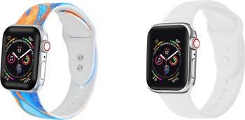 Оранжевый галстук / белый силиконовый ремешок для замены Apple Watch - Набор из 2 - 42 мм / 44 мм POSH TECH