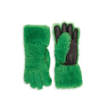 Мех ягненка & amp; Кожаные перчатки Bottega Veneta