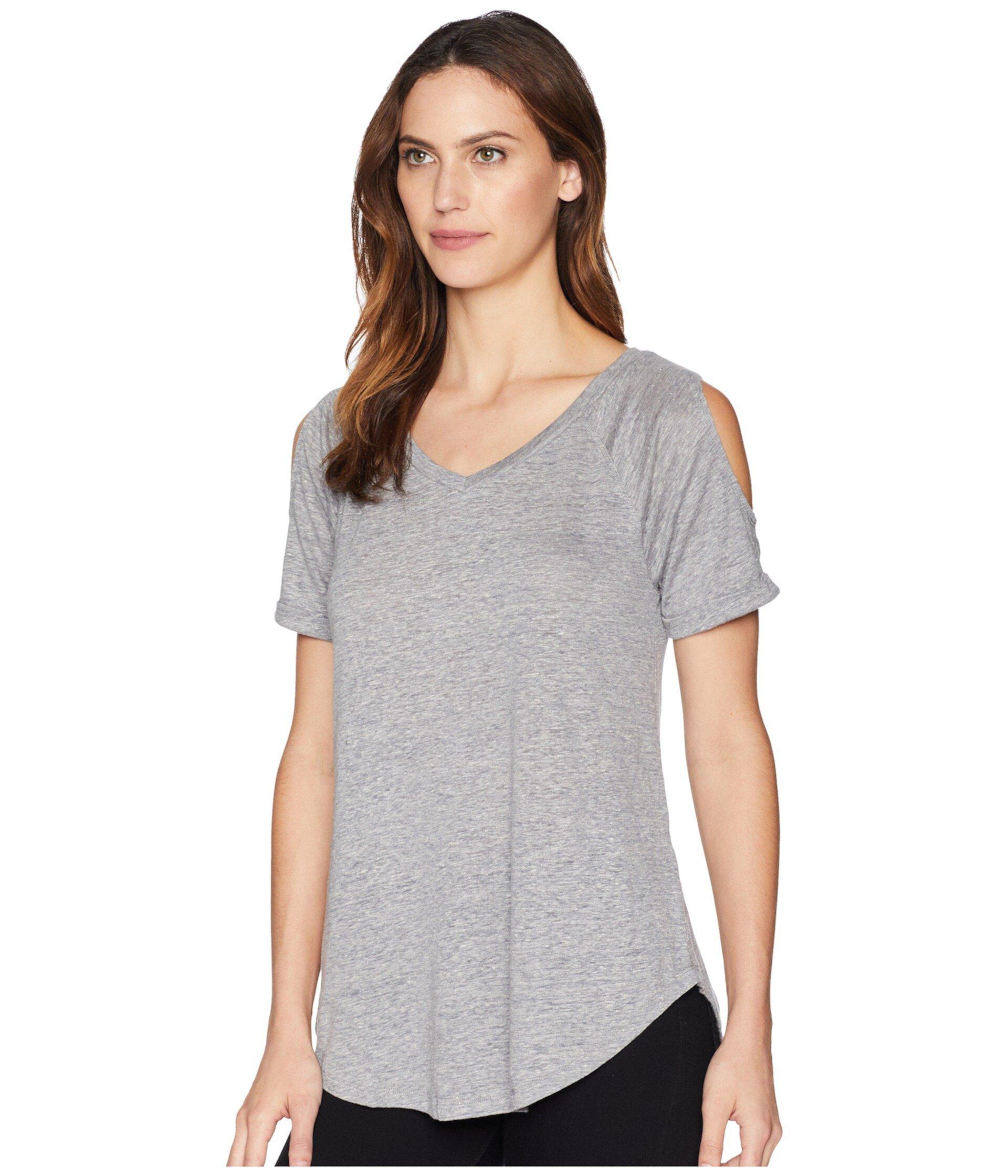Льняная футболка с открытыми плечами и реглан Mod-o-doc