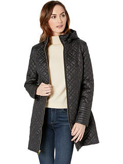 Многослойное лоскутное пальто с капюшоном Via Spiga